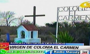 VILLA ELISA: ROMPIERON LA IMAGEN RELIGIOSA DE COL. EL CARMEN: